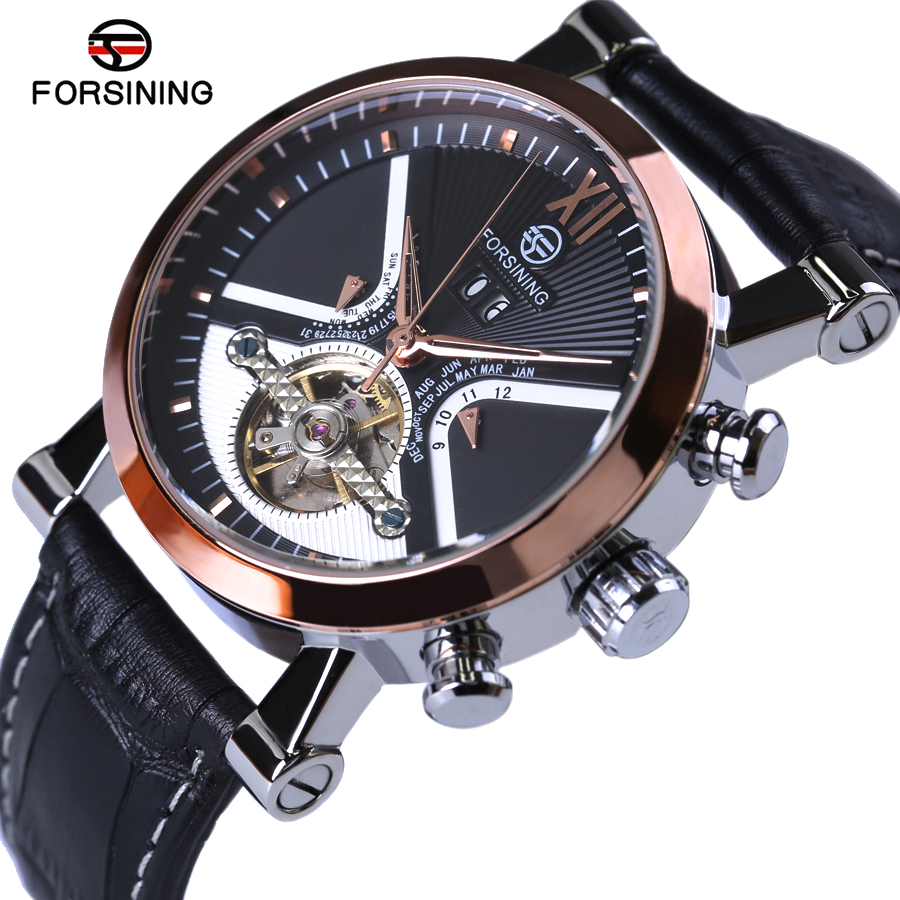 Top Brand Luxury Automatic Watch Classic Tourbillon Wrap Mens Watches Golden Case Calendar Male Clock Black Mechanical Watch winner classic retro design transparent golden case back mens watches top brand luxury automatic male mechanical skeleton watch