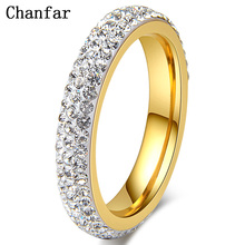 Wedding-Rings Party Jewelry Gift Crystal Stainless-Steel Girl Women Clear Chanfar Full-Size