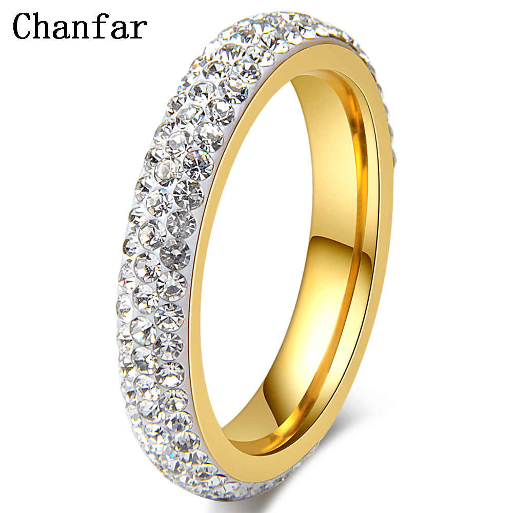 Chanfar מלא גודל ברור קריסטל נירוסטה חתונה טבעות נשים ילדה מסיבת תכשיטי מתנה
