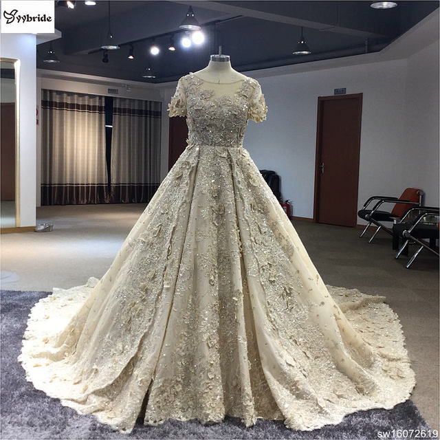 Surmount Catthedral Lace Beading Wedding Dress aesthetic Short Sleeves Ball Gown Royal Train champagne Wedding Dresses 2019