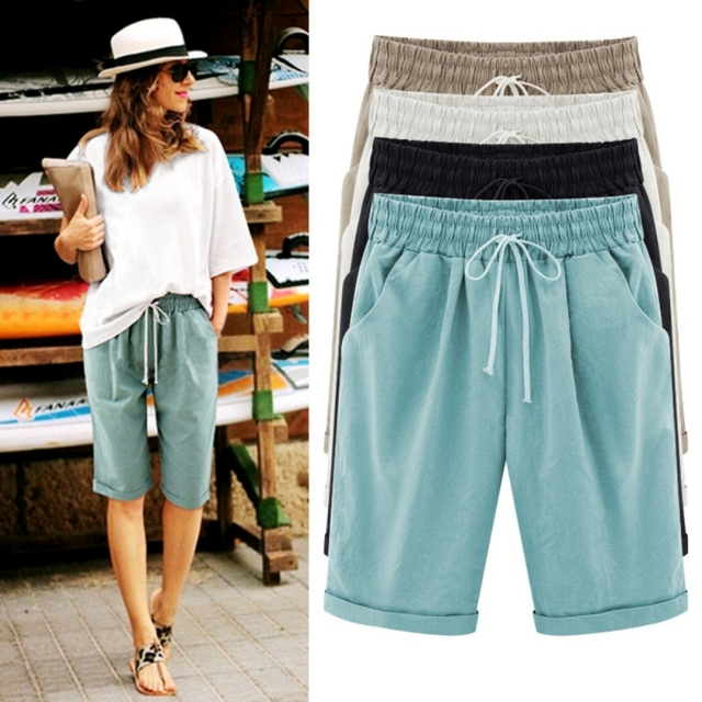 Summer Woman Cotton linen Shorts Plus size Lady Casual Short Trousers Solid Color Khaki black White Green