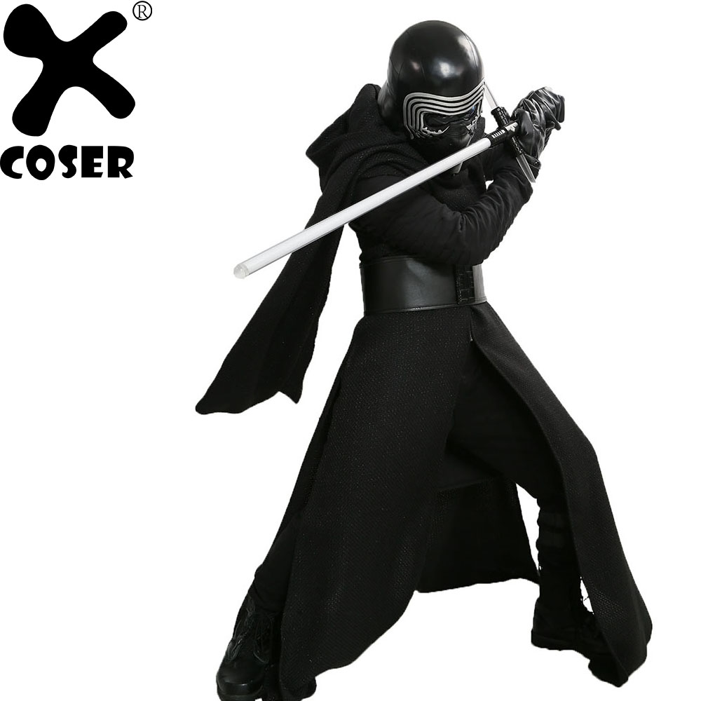 XCOSER Kylo Ren Cosplay Costume V3 Version Suit Movie Star Wars VII  Villain Cosplay Outfit Black Fancy Dress Halloween Costume