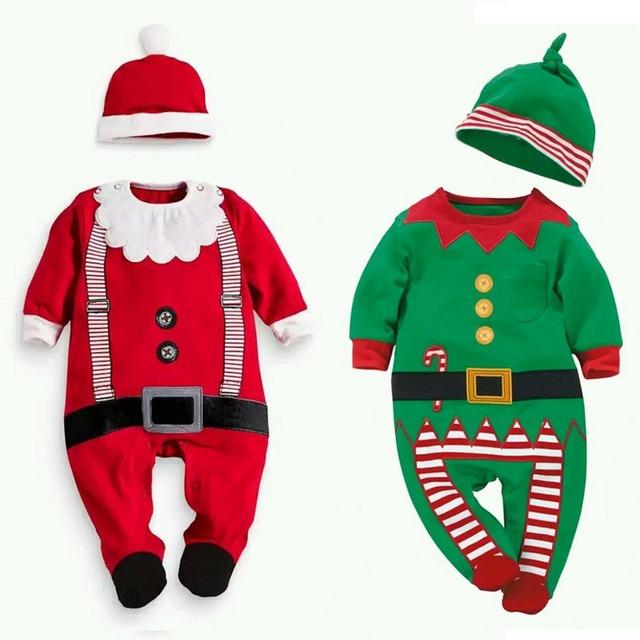 Varejo infantil de Natal roupas roupa dos miúdos do bebê das meninas dos meninos longo manga macacão De Natal kid verde vermelho de Papai Noel romper com chapéu