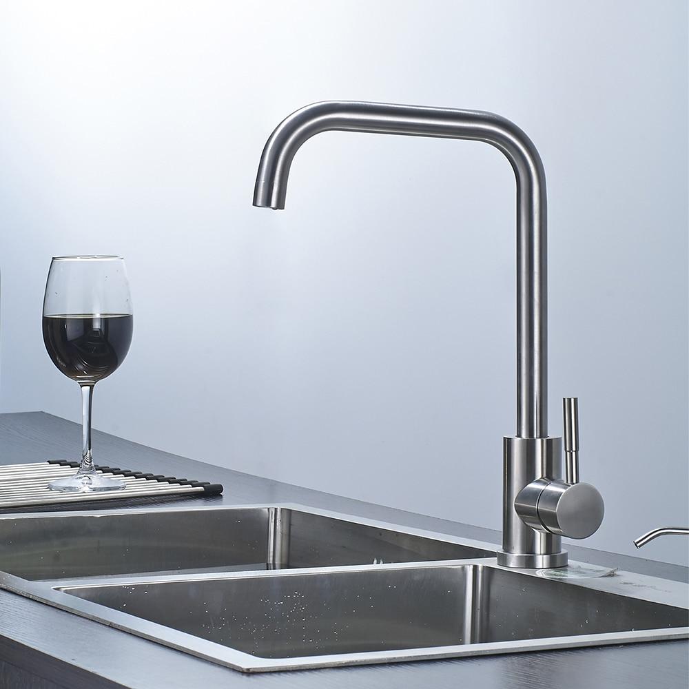 Brushed nickel kitchen faucet modern kitchen mixer tap stainless ...