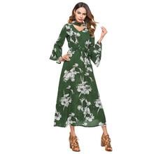 81fd80c7e Mujeres primavera gasa Maxi vestido impresión floral cortado choker cuello  Vestido de manga larga Flare manga