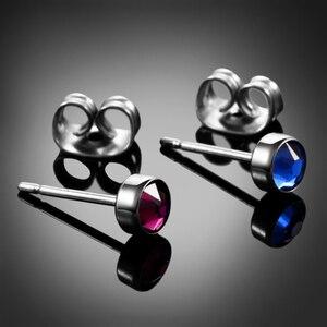 Серьги-гвоздики с драгоценными камнями G23, титановые, 4 мм