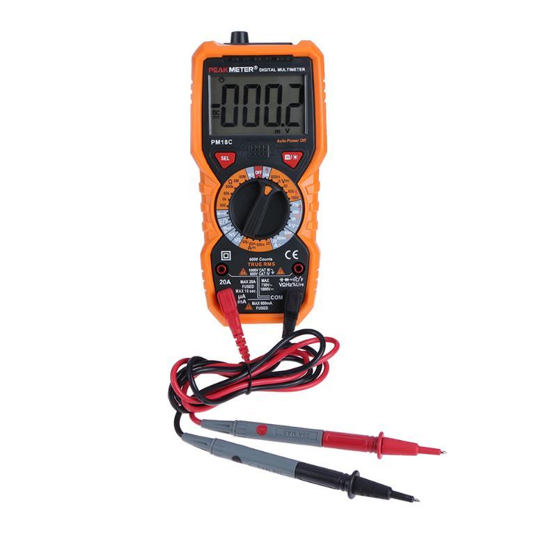 6000 counts HFE Digital Multimeter PM18C with True RMS ACDC Voltage Resistance Capacitance Frequency Temperature NCV Tester