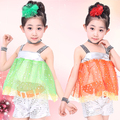 10pcs/lot Free Shipping Kids Girls Dance Costume Sequins Children Stage Ballroom Dancing Clothes Summer Flower Girl Party Dress
