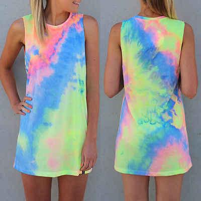 2019 новое летнее платье пикантные для женщин вечернее без рукавов с принтом радуги Мини Белый галстук Dye пляжные платья