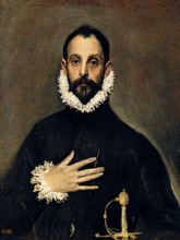 portrait canvas prints giant pictureImagich Top 100 prints A Nobleman with His Hand on His Chest circa 1577-84  By El Greco prints