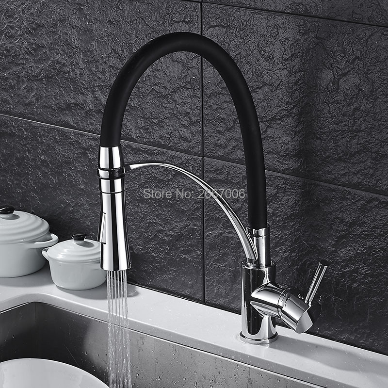 GIZERO Black Hose Pull Down Single Handle Tap Rotatable Swivel Spout Vessel Sink Mixer Kitchen Faucet Chrome Polish GI2099