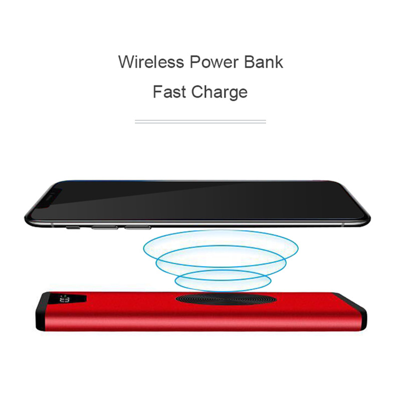 10000 mAh Power Bank Portable Wireless Charger QI External Battery Bank Dual USB For Samsung Mobile Phones