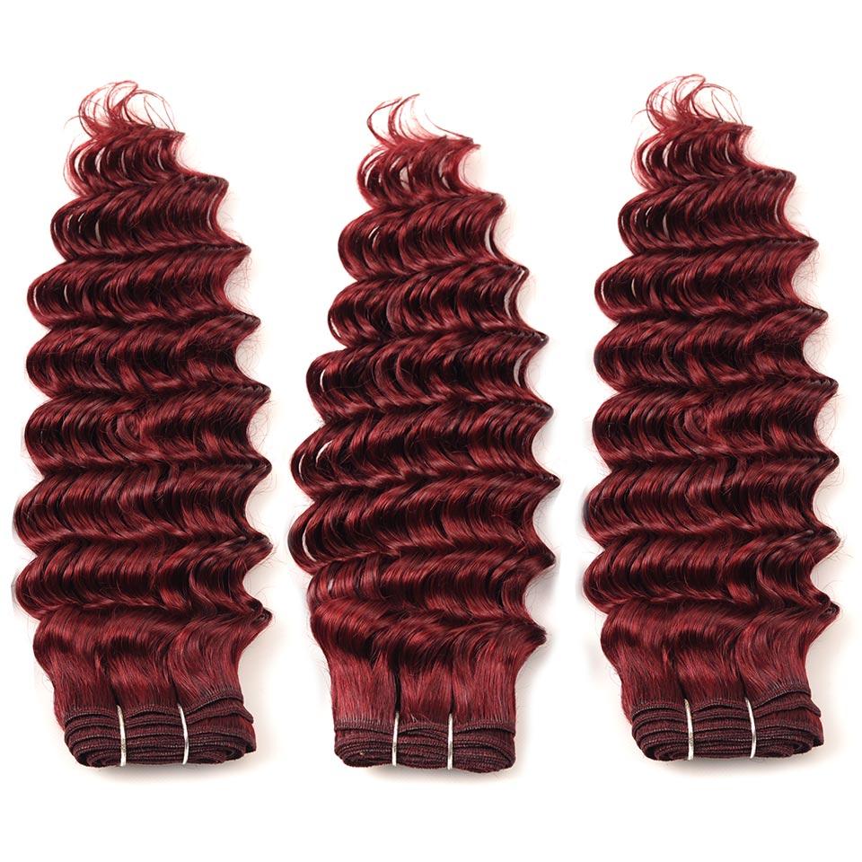 Pinshair предварительно Цветной 99j blod красный бразильские волосы глубокая волна 3 Связки с Синтетическое закрытие волос Дешевые бордовый Челов...