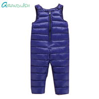 Grandwish Boys Autumn Winter Down Overalls Warm Jumpsuit Trousers for Baby Girls Solid Pants Clothes for Children 18M-6T,TC109