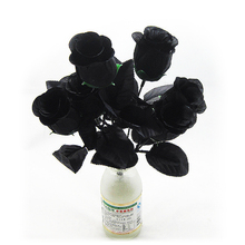 7 голов искусственный цветок из черной розы, Шелковый букет, украшение для дома, свадьбы, праздника, Хэллоуина, вечерние, сделай сам, композиция