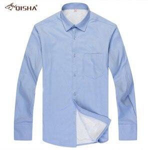 Image 3 - Fashion Winter Heren Shirt Casual Solid Gestreepte Warme Thermische Camicia Merk Zwart Wit Blauw Blouse Big Size 8XL 7XL 6XL 5XL Xxxxl