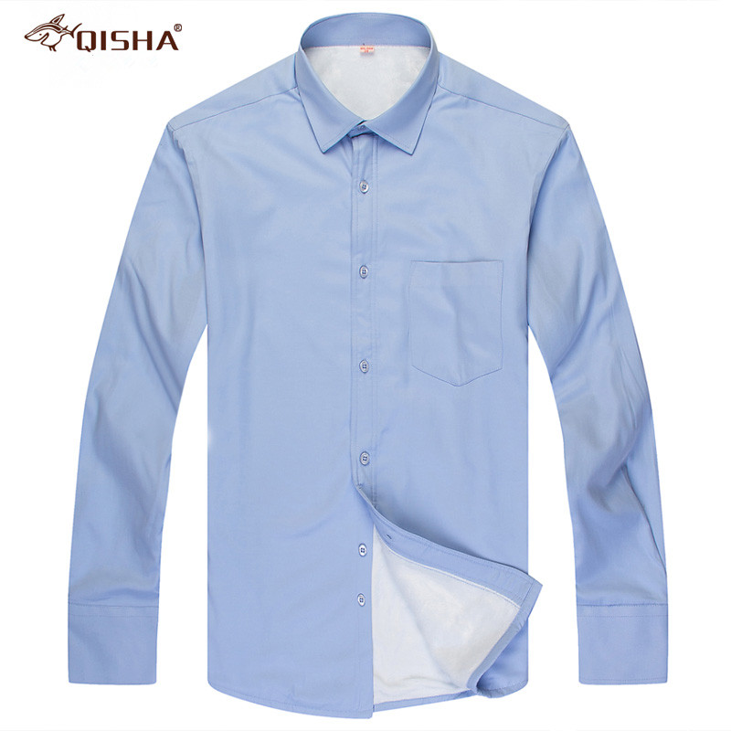 Image 3 - Fashion Winter Mens Shirt Casual Solid Striped Warm Thermal Camicia Brand Black White Blue Blouse Big Size 8XL 7XL 6XL 5XL XXXXLDress Shirts   -