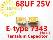686E 68 МКФ 25 В E тип 7343 H 2917 SMD Танталовый Конденсатор Разъем TAJE686K025RNJ x400PCS