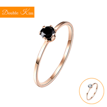 Single Fine Ring Titanium Steel Material Inlaid Transparent Black Fashion Trendy for Women Jewelry Gift