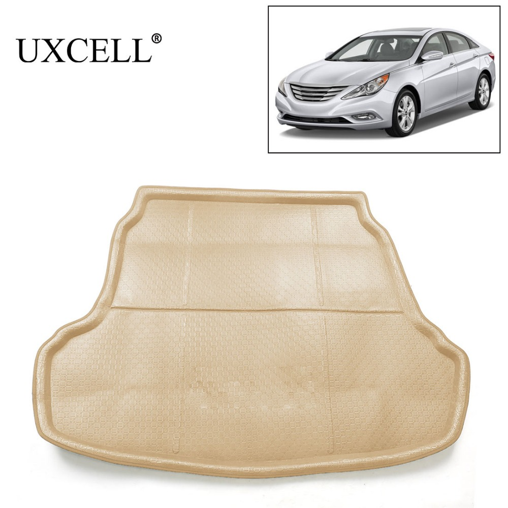 UXCELL SUV Van Rubber Rear Trunk Cargo Floor Mat Auto Liner Carpet Trunk Mat Khaki For Hyundai Sonata 2011 2012 2013 2014 2015 free shipping leather car floor mat carpet rug for hyundai sonata hyundai i45 sixth generation 2009 2010 2011 2012 2013 2014