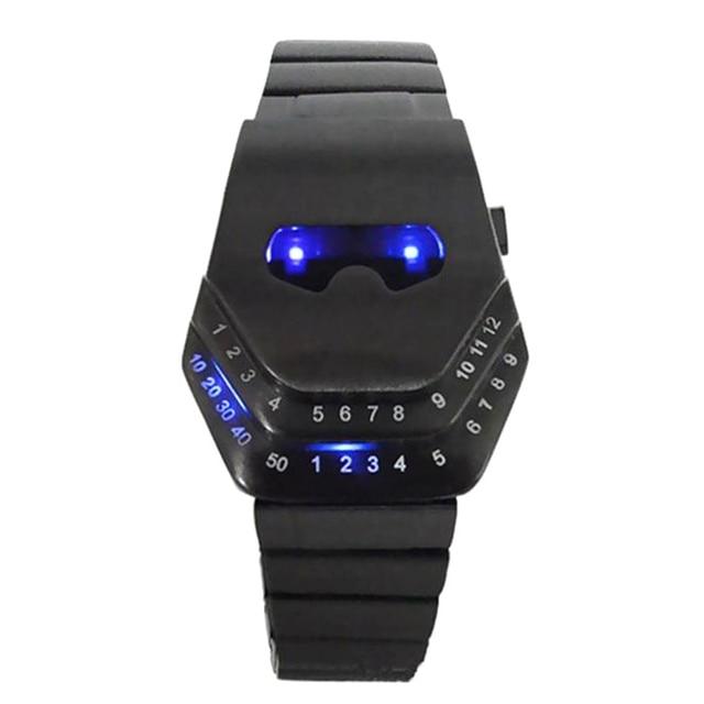 cf335377957 Luxo Mens Relógios Desportivos Digital LED Relógio Moda Criativa Aço  Inoxidável Cabeça Da Serpente Azul Fresco