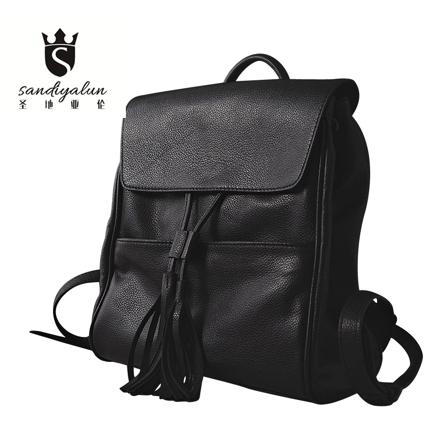 Фотография Fashion Genuine Leather Women Backpack School Backpack Design Women Ladies Drawstring Bucket Schoolbag for Teenagers