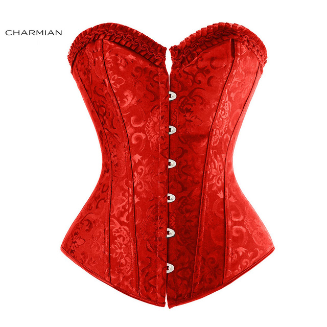 Charmian Women's Vintage Gothic Overbust Corset Plus Size Spiral Steel Boned Jacquard Strapless Christmas Corsets and Bustiers