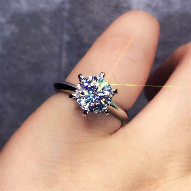 2018 Solitaire ring 100% Soild 925 Sterling silver Jewelry 1.5ct Sona AAAAA Zircon Cz Engagement wedding band rings for women