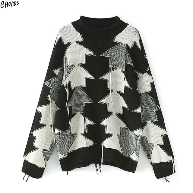 900ce4e3a7f91f Black White Color Block Geo Pattern Jumper Long Sleeve Drop Shoulder Chunky  Knitted Oversized Sweater Women