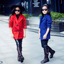 Girls Winter Woolen Europe Quilted Collar Suit Thickened Double Breasted Coat Children Kids Clothing Red Blue
