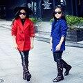 Meninas inverno de lã europa acolchoado terno gola espessamento double breasted casaco crianças kids clothing azul vermelho de algodão acolchoado