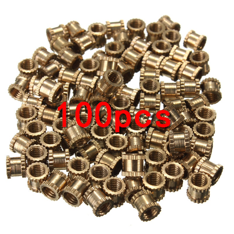 100x Brass Knurl Nuts <font><b>M3x4mm</b></font> Insert Nut Knurled Copper with Straight/slanting Knurling image