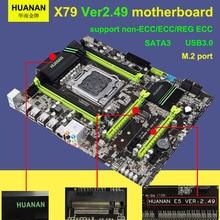 Hot sale Version 2.49 HUANAN X79 motherboard USB3.0 X79 LGA 2011 ATX motherboard SATA3 4 channel memory DDR3 2 years warranty