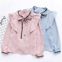 2018 nueva mujer blusa camisa mujeres s volantes camisa suelta stand collar mujeres manga larga Camisas dropshiping