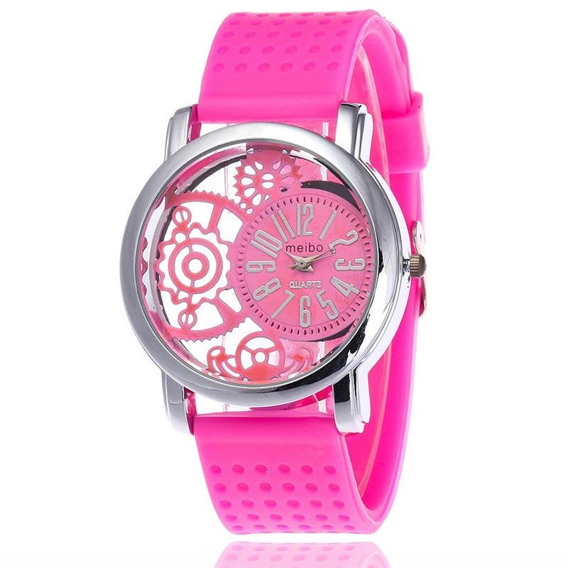MEIBO 2087 women Fashion Silicone Watch Casual Women Dress Quartz Watches Clock pink цена и фото