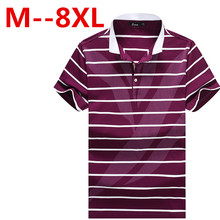 8XL 6XL 4X Plus Size Short Sleeve Turn-down Buttoned Collar Tees Embroidered Yarn Dyed Contrast Color Striped Polo Shirt for Men