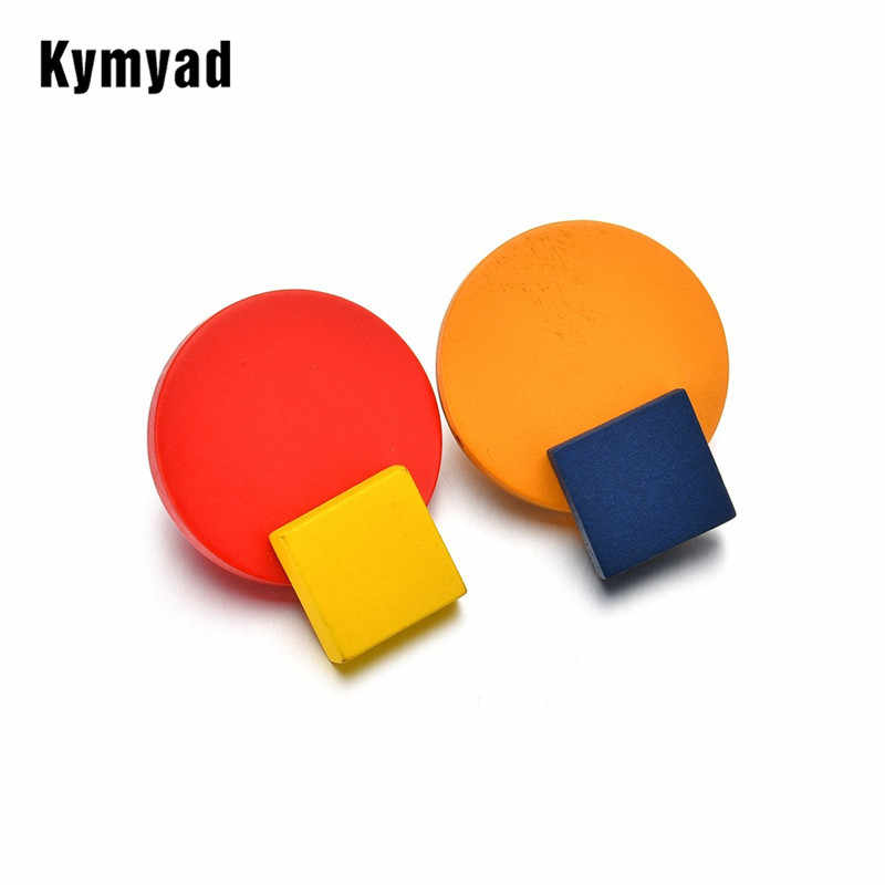 Kymyad Fashion Circular New Stud Earrings for Women Square Earring Yellow Blue Brincos Statement Earings Fashion Jewelry