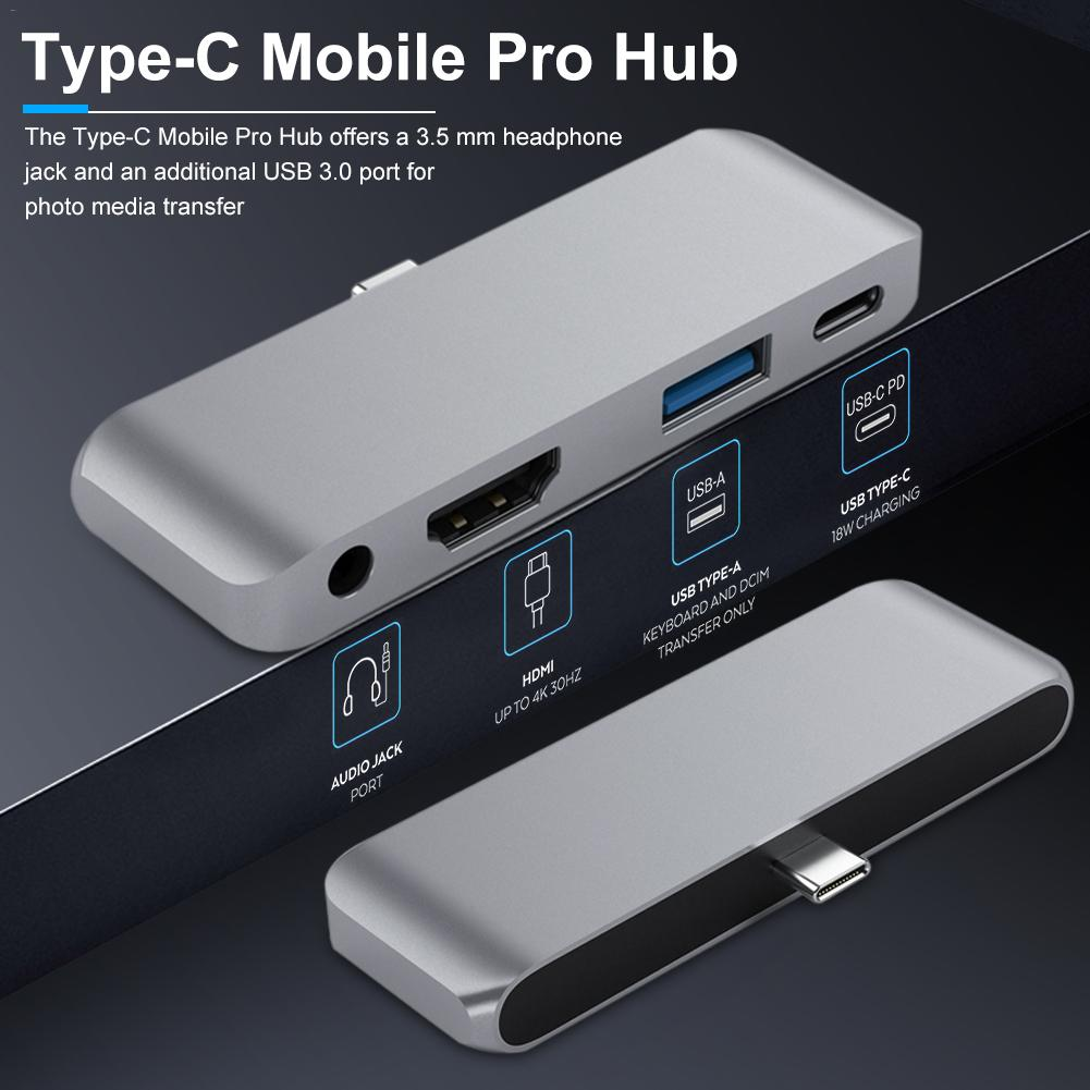 Aluminum Type-C Mobile Pro HUB Adapter for 2020 iPad Pro with USB-C PD Charging 4K HDMI USB 3.0 3.5mm Headphone Jack