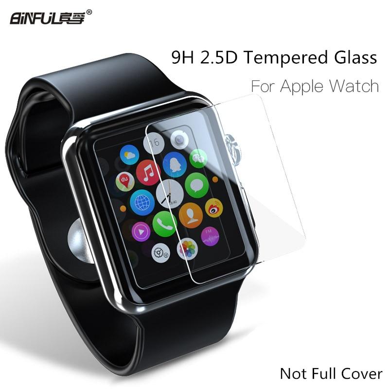 2.5d 9 h kaca tempered untuk apple watch seri 1 2 3 38 42mm pelindung layar film pelindung untuk iwatch (tidak penutup penuh)