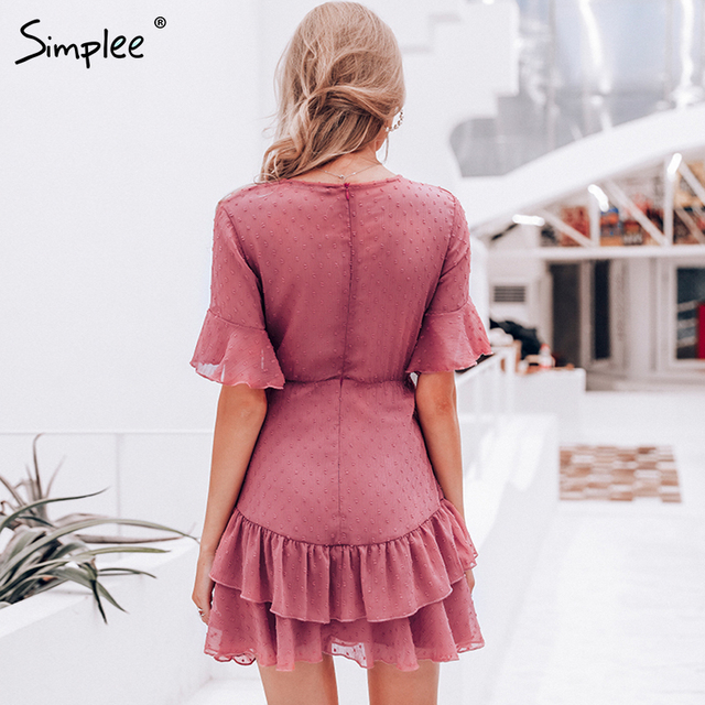 Women dress Summer style layer ruffle chiffon short sundress