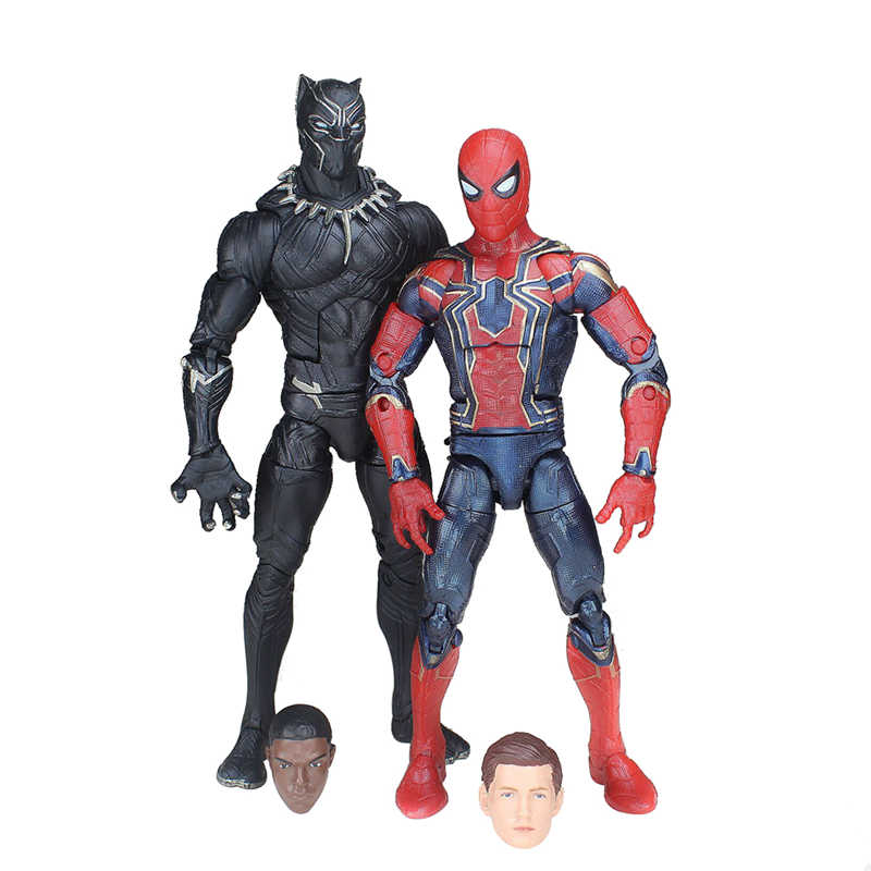 "2PCS Spiderman Infinity War Black Panther Marvel Avengers Legends 6"" Action Figure Spider Man Model Toys for Christmas Gift"