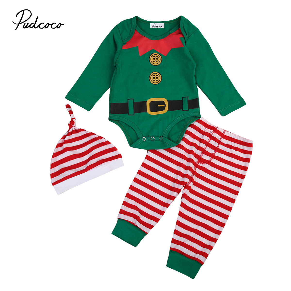 Green Baby Boy Xmas Outfits Pjs Set Santa Clause Rompers Stripe Long Pants Leggings Hat Outfits Set Clothes Cotton