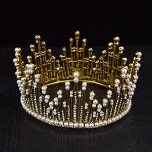 Image 5 - Vintage Gold Silver Luxury Luxury Rhinestone เพิร์ลขนาดใหญ่ Tiara Queen รอบ Big Crown สำหรับเจ้าสาวงานแต่งงานอุปกรณ์เสริมเครื่องประดับ