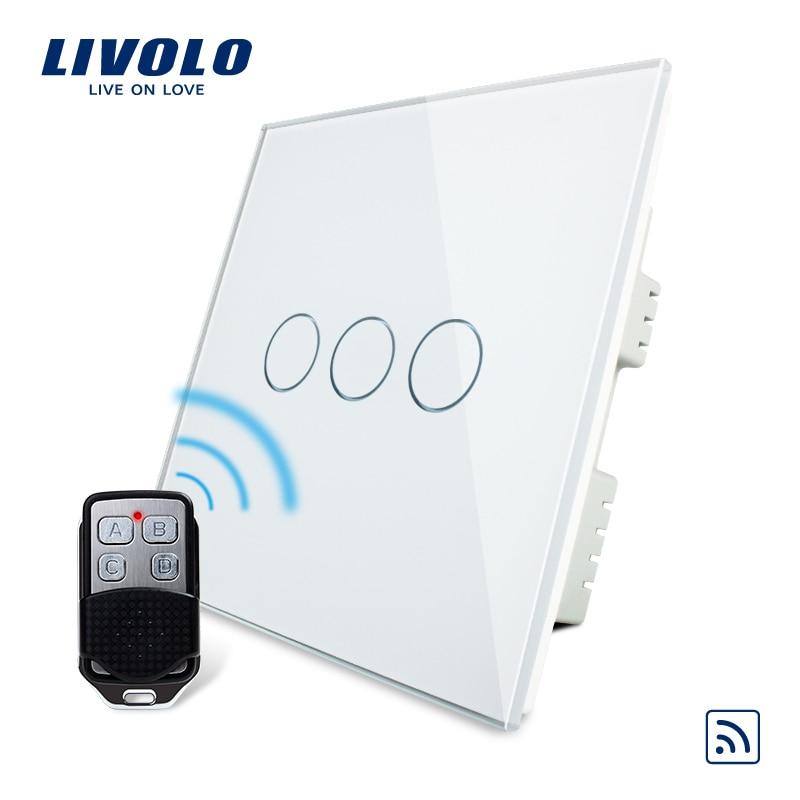 Commutateur standard britannique Livolo, VL-C303R-61 et VL-RMT-02 AC 220-250, panneau en verre cristal 3 couleurs, commutateur tactile à distance sans fil avec télécommande