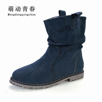 Plus Size 43 Women Ankle Boots Fashion Designer Woman Shoes Winter Vintage Flat Heel Motorycle Boots