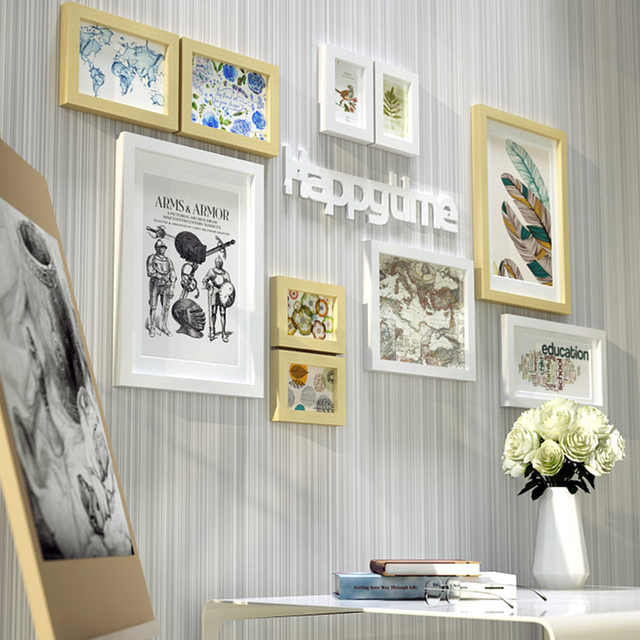 10 Piece Wood Photo Frames with Pictures Wall Hanging Photo Frames ...
