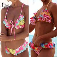 Miyouj Sexy Rüschen Bikini Floral Push Up Badeanzug Frauen Lace Up Bademode String Badeanzug Monokini Biquini Welle Bikini Set XL