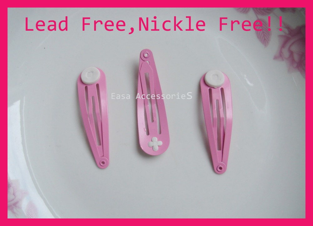 ac2e06301ff5 50PCS Hot Pink 5.0cm round head tear drop plain Metal Snap Clip with pads  at nickle free and lead free