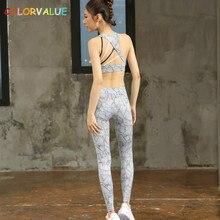 Colorvalue 2Pcs/Set Leaves Printed Yoga Set Women Padded Running Bras High Waist Sport Leggings Breathable Jogging Sport Suit