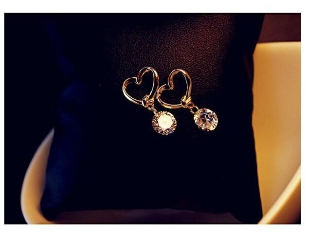 ES634 Stud Earing Girl Brinco Pendientes CZ Bijoux Zircon Heart Stud Earrings For Women Wedding Jewelry Accessories Earings